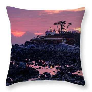 Sunset And Low Tide At Battery Point Throw Pillow