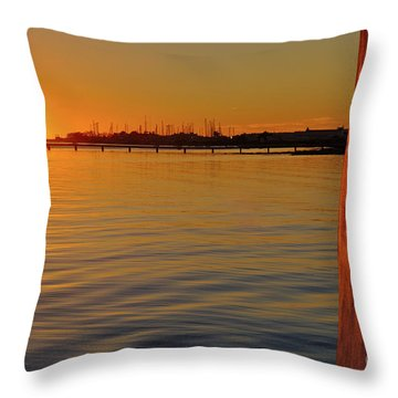 Sunset And Old Watermill Throw Pillow