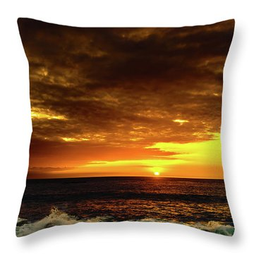 Sunset And Surf Throw Pillow