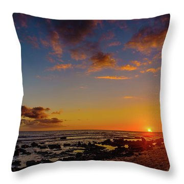 Sunset At Kailua Beach Throw Pillow