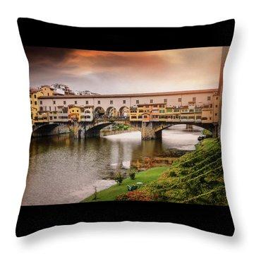Sunset At Ponte Vecchio Florence Italy  Throw Pillow