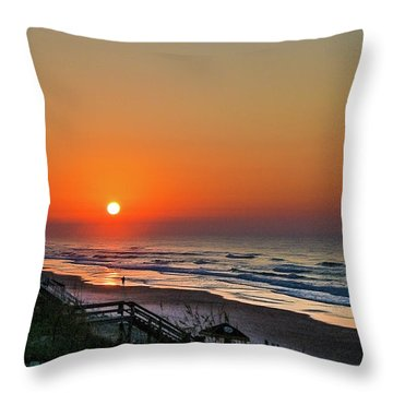 Sunset At Surf City Nc Throw Pillow