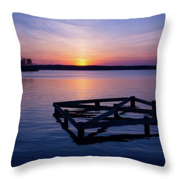 Sunset At The Reservoir  Throw Pillow