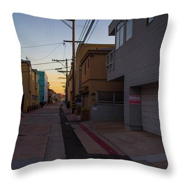 Sunset Back Alley Mission Beach San Diego California Throw Pillow