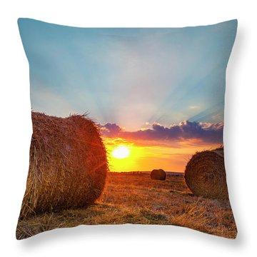 Sunset Bales Throw Pillow