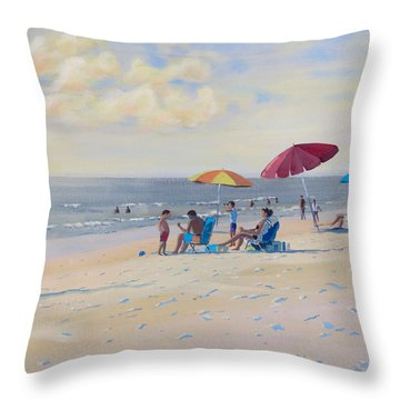 Throw Pillow featuring the painting Sunset Beach Observers by David Gilmore