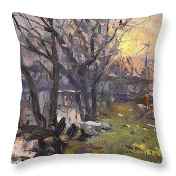 Sunset By Canal Tonawanda Throw Pillow