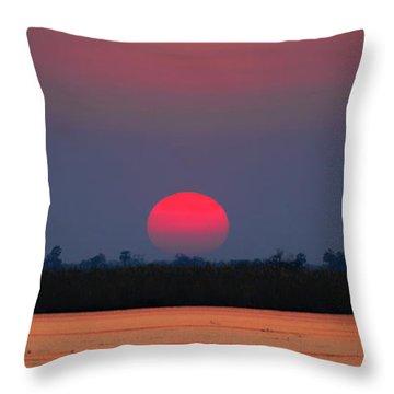 Sunset In Botswana Throw Pillow