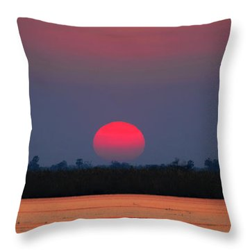 Sunset In Botswana Throw Pillow