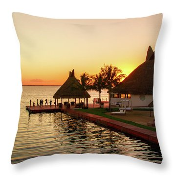 Sunset In Cancun Throw Pillow