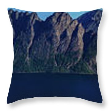 Sunset In Norway In Lofoten Island Throw Pillow