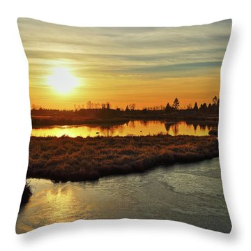 Sunset In Pitt Meadows Throw Pillow