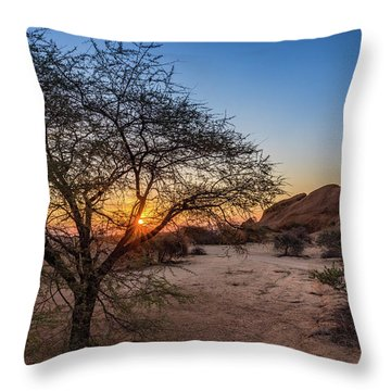 Sunset In Spitzkoppe, Namibia Throw Pillow