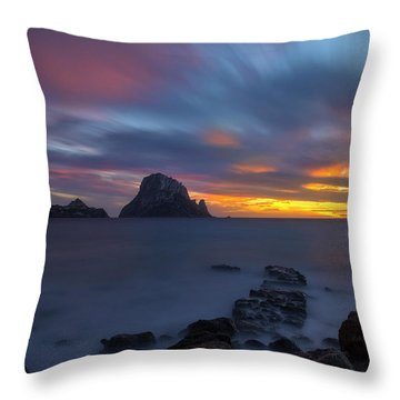 Sunset In The Mediterranean Sea With The Island Of Es Vedra Throw Pillow
