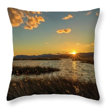 Sunset In The Natural Park Of Prat De Cabanes Throw Pillow