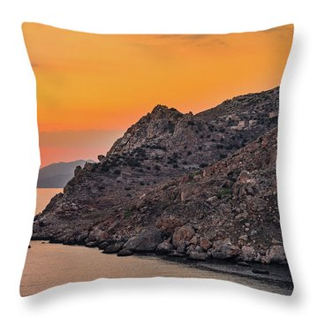 Sunset Near Cape Tainaron Throw Pillow