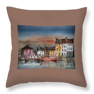 Throw Pillow featuring the painting Sunset On  Cloondra, Co. Longford by Val Byrne