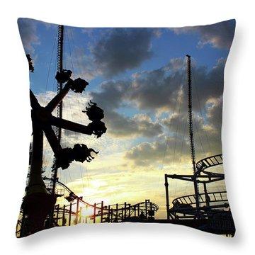 Sunset On Coney Island Throw Pillow