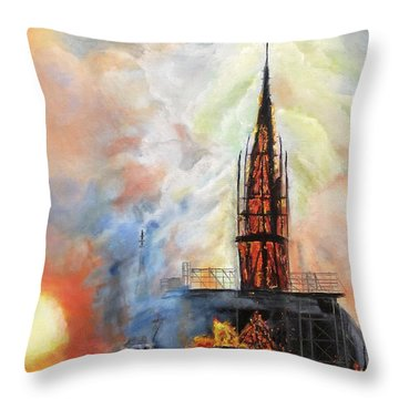 Sunset On Notre Dame Throw Pillow