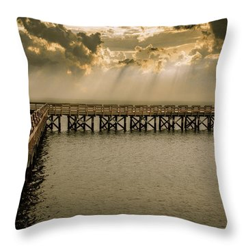 Sunset On Pier Throw Pillow