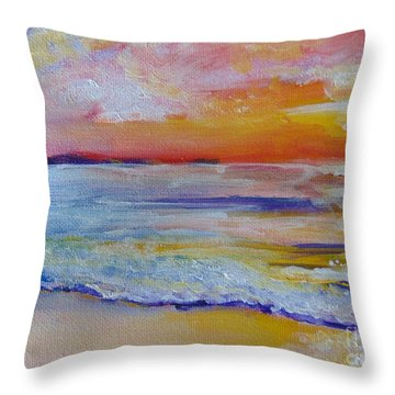 Throw Pillow featuring the painting Sunset On The Gulf by Saundra Johnson