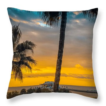 Sunset On The Island Throw Pillow