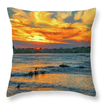 Sunset On The River  Throw Pillow