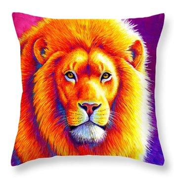 Sunset On The Savanna - African Lion Throw Pillow