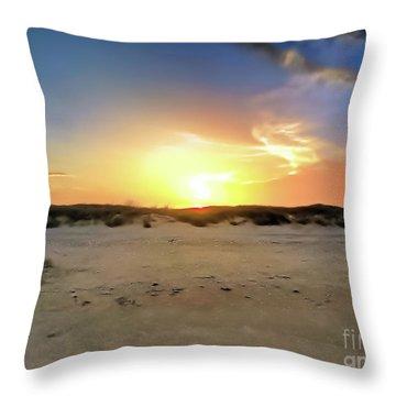 Sunset Over N Padre Island Beach Throw Pillow