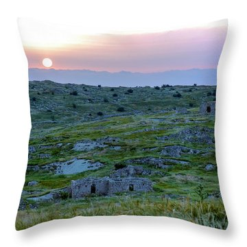 Sunset Over Um A-shekef, Israel Throw Pillow