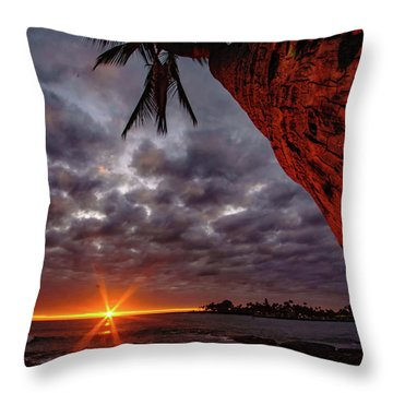Sunset Palm Throw Pillow