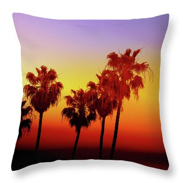 Sunset Palm Trees- Art By Linda Woods Throw Pillow