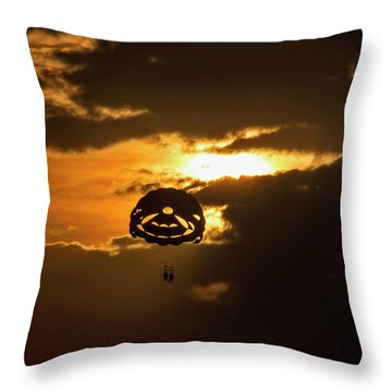 Throw Pillow featuring the photograph Sunset Parasailing In Key West by Bob Slitzan
