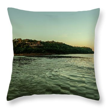 Sunset River Confluence Throw Pillow