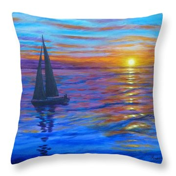Throw Pillow featuring the painting Sunset Sail by Amelie Simmons