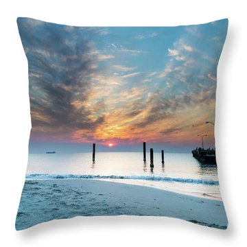 Sunset Seascape And Beautiful Clouds Throw Pillow