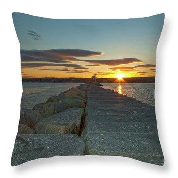 Sunset Seawall Throw Pillow