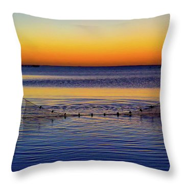 Sunset Seining On Copano Bay Throw Pillow