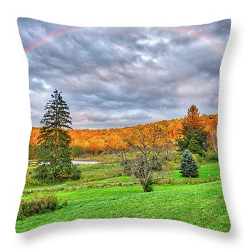 Throw Pillow featuring the photograph Sunset Storm Rainbow - Upstate New York by Lynn Bauer