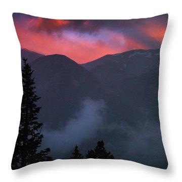 Sunset Storms Over The Rockies Throw Pillow