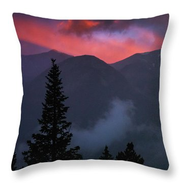Throw Pillow featuring the photograph Sunset Storms Over The Rockies by John De Bord