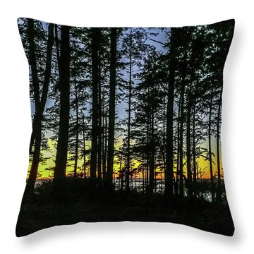Throw Pillow featuring the photograph Sunset Thru The Trees by Ed Clark
