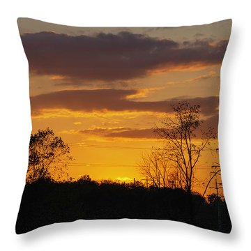 Sunset With Electricity Pylon Throw Pillow