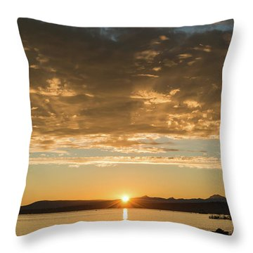 Sunset's Golden Rays Throw Pillow