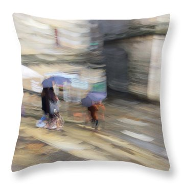 Throw Pillow featuring the photograph Sunshower On The Stairs by Alex Lapidus