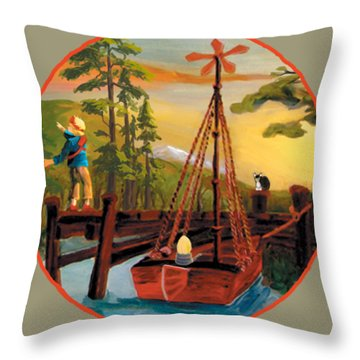 Super Boat Overlay Throw Pillow
