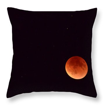 Throw Pillow featuring the photograph Super Harvest Blood Moon by Carl Young