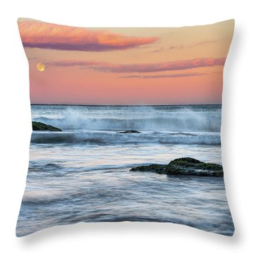 Super Moon And Sunset At Sozopol Town Beach Throw Pillow
