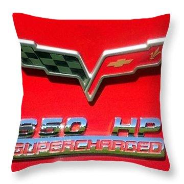 Supercharged Corvette Emblem Throw Pillow