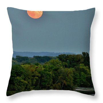 Supermoon On The Mississippi Throw Pillow
